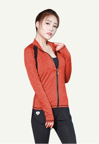 B-Code orange ZYG5062-Lady Quick Drying Running Fitness Yoga Sports Bra, Jacket and Leggings Three Pieces Set-Orange A3B8DAA3B0A5C5GS_1