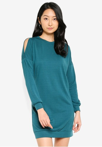 ZALORA BASICS green Oversized Cold Shoulder Sweater Dress 832B2AACB60E98GS_1