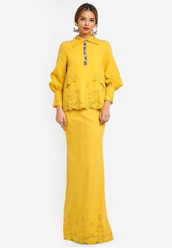 Syomirizwa Gupta for ZALORA yellow VERA Modern Kurung C3C51AAF0A8F39GS_1