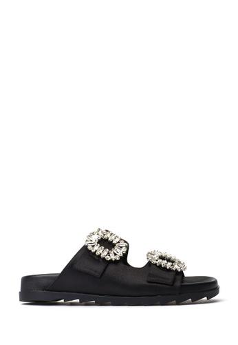 PAZZION black Buckle Slide Sandals 9221BSHC5E04FBGS_1
