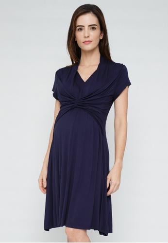 9months Maternity navy Navy Empire Draped Nursing Dress 7687AAAA3FF9A4GS_1