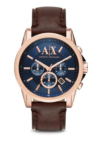 Armani Exchange gold Armani Exchange Dark Brown Leather Watch AX2508 AR162AC53NIKMY_1