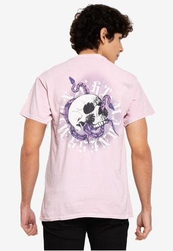 Mennace pink On The Run Skull Regular T-Shirt C0027AA4941E0BGS_1
