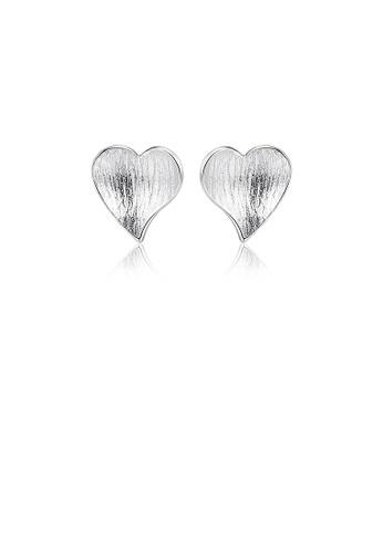 Glamorousky silver 925 Sterling Silver Simple Sweet Heart Stud Earrings 15C33AC3928E0DGS_1