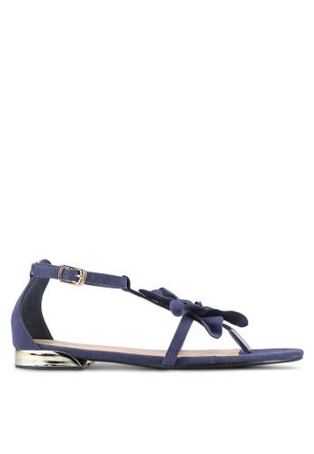 Something Borrowed blue Suede Flower Sandals ECE72SH074362FGS_1