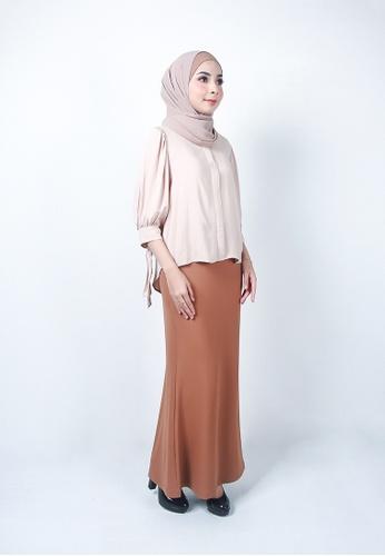 Ladies Jeans brown Ordinary Plain Long Skirt D3FADAA92030A1GS_1