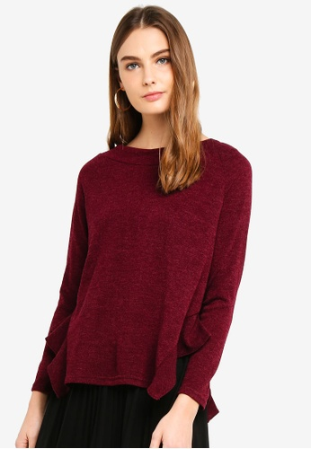 OVS red Long Sleeves Top With Collar Details 67577AAAD7058AGS_1