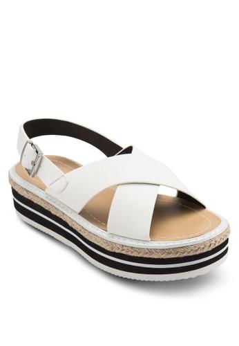 交叉帶條紋麻編楔形zalora 心得涼鞋, 女鞋, 鞋