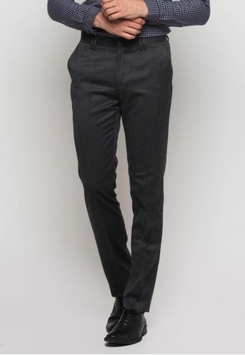 The Executive grey Flat Front Pants TH044AA0SICFMY_1
