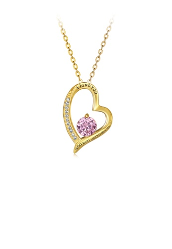 Glamorousky pink Fashion Romantic Plated Gold Heart Pendant with Pink Austrian Element Crystal and Necklace 5BA85ACB2BF2CFGS_1