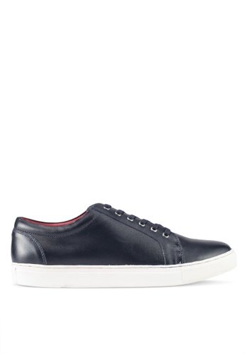 ACUTO navy Leather Sneakers AC283SH0SL6NMY_1