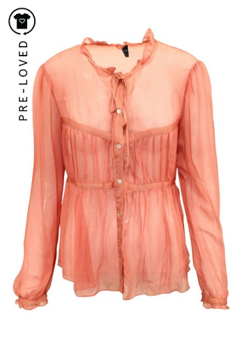 French Connection orange Pre-Loved french connection Oversized Transparent Silk Shirt 18CF4AAF1967A0GS_1