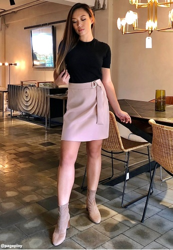 Pomelo pink Belted High Waist Skirt - Pink F7516AAD0945E9GS_1