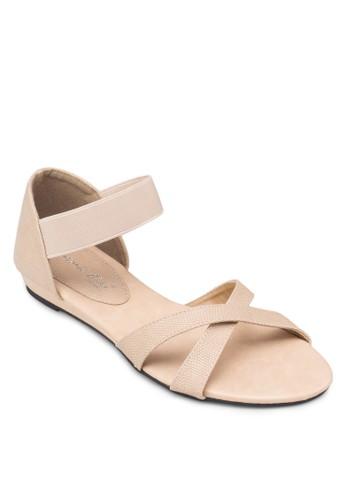 交叉繞踝彈性帶zalora 順豐涼鞋, 女鞋, 鞋