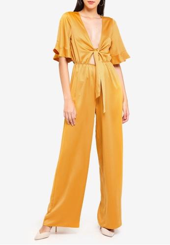 833f2449be7 MISSGUIDED yellow Satin Kimono Sleeve Wide Leg Jumpsuit 7D697AAD249E8BGS 1
