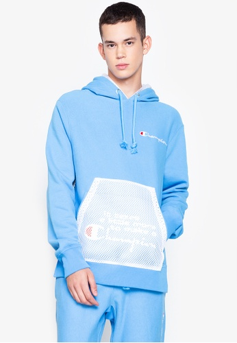 Champion white and blue Reverse Weave Shift Pullover Hoody 630E5AA0C95C25GS_1