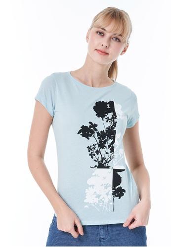 Sisley blue Printed T-shirt AA515AA008F777GS_1
