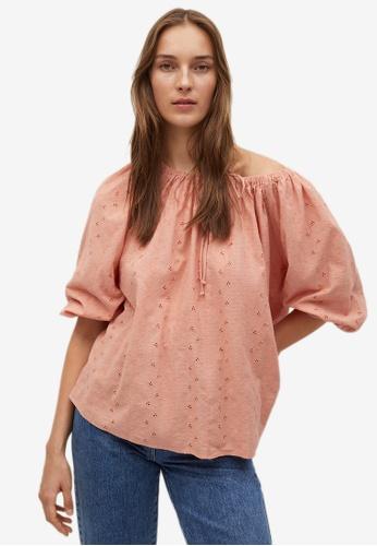 Mango pink Swiss Embroidery Cotton Blouse 7810DAA8FB8011GS_1