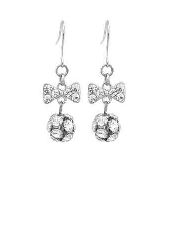 Glamorousky silver Cute Ribbon Earrings with Silver Austrian Element Crystals CE62EACFB7D582GS_1