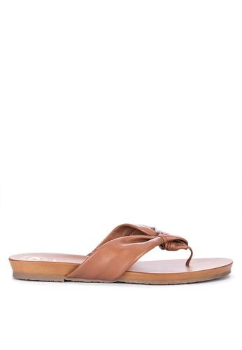 Dune London brown Lyrik Thong Slide Sandals 35438SH7F3C896GS_1