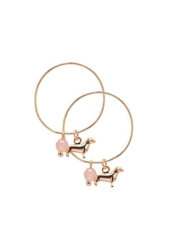 Orelia London gold Dachshund Hoop Charm Earrings OR747AC0SC5AMY_1