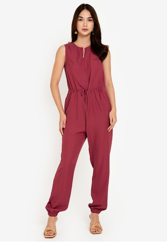 ZALORA WORK pink Notch Neck Jumpsuit 6DD17AAEBBAF29GS_1
