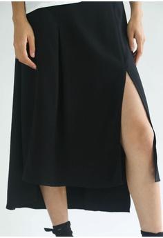 b3412f6f409af4 SALIENT LABEL Black Bamboo Hi-lo Hemline Midi Skirt S  86.00. Sizes S M L  XL XXL