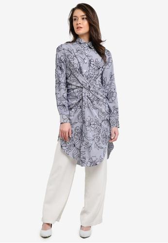 Zalia navy Knot Long Tunic Shirt 8CE60AA22D7A6DGS_1