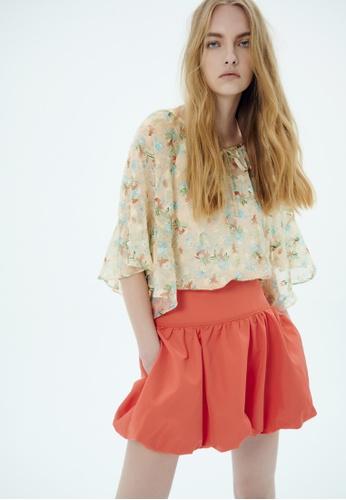 iROO orange Puffy Skirt 5D6BBAA2D11AE6GS_1