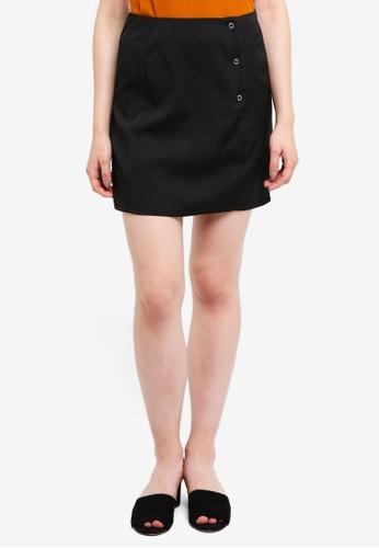 Something Borrowed black Popper Mini Skirt 120A5AAC1F7108GS_1