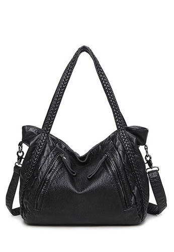 Twenty Eight Shoes black VANSA Braid Tote Bag VBW-Tb8006L 89C1EAC9D9B15CGS_1