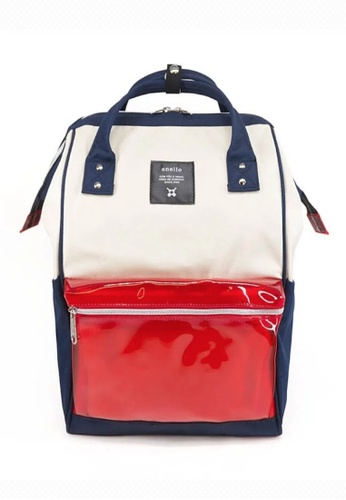 Anello white and red and navy anello Polyester Clear Pocket Backpack 7A510ACDDC0497GS_1