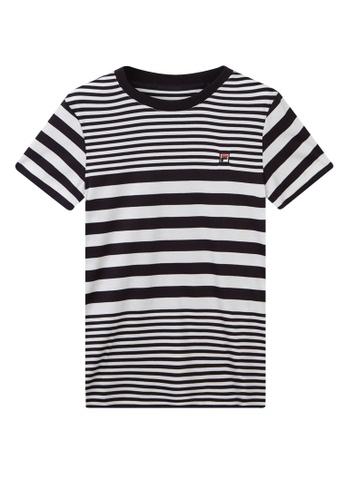 FILA white FILA KIDS Embroidery F-box Logo Striped Cotton T-shirt 6-13yrs D0430KA7D2BAC1GS_1