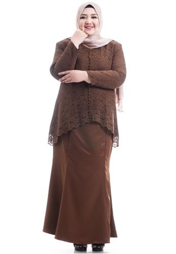 Ashura brown Keesha Kurung With Back Fish Tail Plus Size A75EEAA890A876GS_1