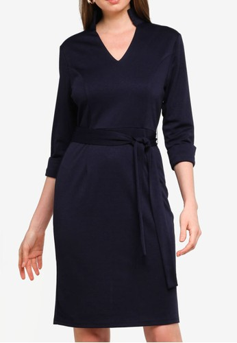 ZALORA WORK navy High Neck Fit & Flare Dress 2B907AACECF567GS_1