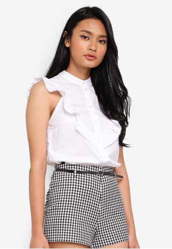 8d43ab8380a053 Buy Miss Selfridge White Grandad Frill Shirt Online on ZALORA Singapore