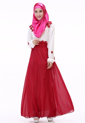 SMROCCO red Muslimah Red Flora Jubah Dress MW6010-R SM066AA29NHEMY 1 97dbbefc3f