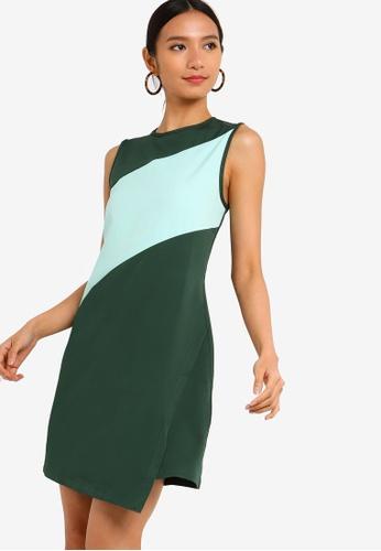 ZALORA 綠色 撞色拼接洋裝 17E4AAA1D63C88GS_1