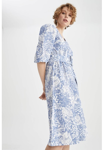 DeFacto blue Short Sleeve Midi Dress 1D191AAB612682GS_1