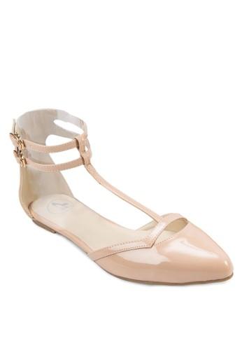 亮面雙esprit台灣踝帶平底鞋, 女鞋, 涼鞋