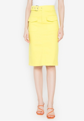 Spring Fling yellow Skirt with Front Pockets 09ADBAA494F86FGS_1