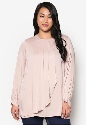 褶飾裹飾zalora時尚購物網評價長袖上衣, 服飾, 上衣