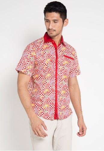 ARJUNA WEDA red and multi Hem Batik Papan Catur FC725AADE833FAGS_1