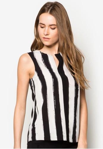 條紋無袖上衣zalora時尚購物網評價, 服飾, 上衣