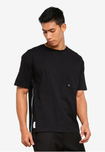 Sparrow Green 黑色 條紋滾邊口袋T恤 3BDB2AAD151FCBGS_1
