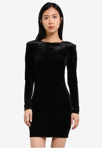Mango black Shoulder Pad Velvet Dress MA193AA0S9MNMY_1