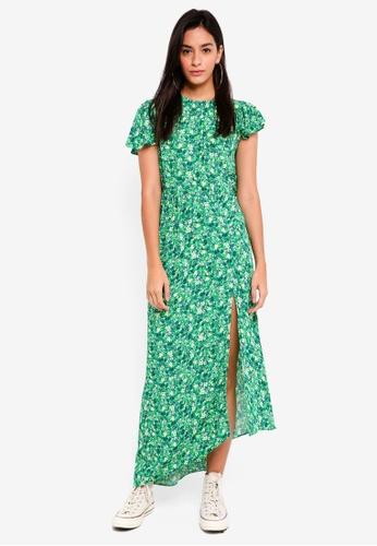 TOPSHOP green Ditsy Deconstructed Midi Dress A2EBBAA047C5C8GS_1
