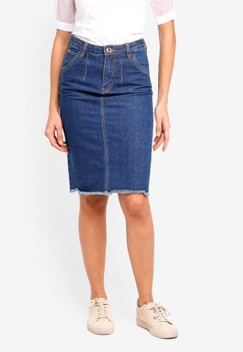 Hopeshow blue Denim Skirt 43EFEAAE0C5A92GS_1