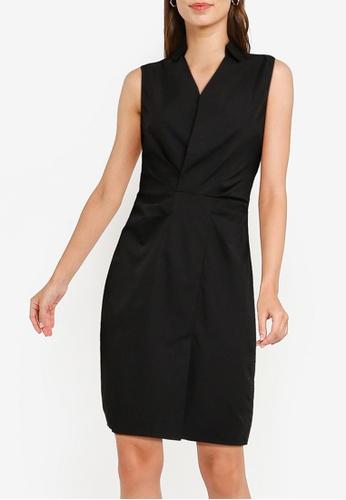 ZALORA WORK black Sleeveless Pleated Detail Sheath Dress 325E3AA9E20AB0GS_1