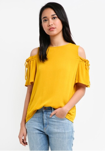 Pieces yellow Nynne Short Sleeve Top A55DCAA647F627GS_1